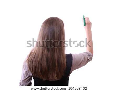 young businesswoman with pen on white