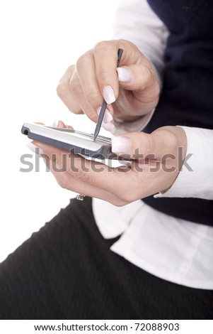 young businesswoman with pocket computer or mobile phone
