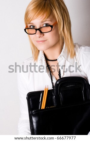 young businesswoman with portfolio on white background