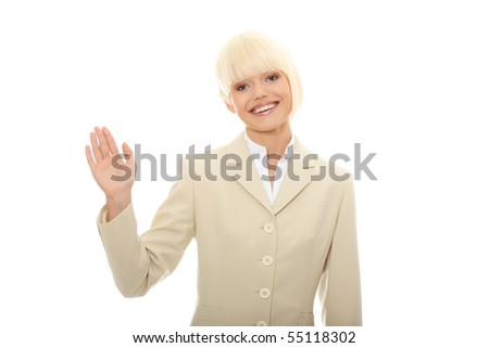 Young businesswoman with raised hand in mid-air isolated on white
