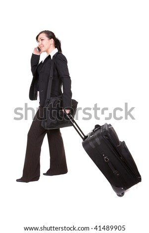 young businesswoman with suitcase. over white background