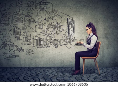 Young businesswoman working in an office brainstorming business plan  #1066708535