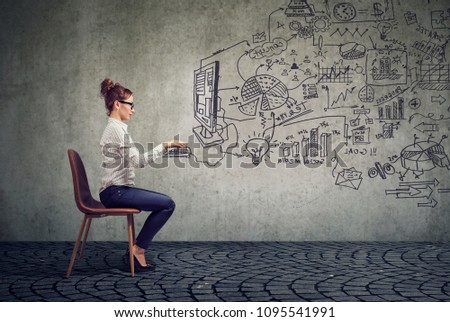 Young businesswoman working in an office brainstorming business plan  #1095541991
