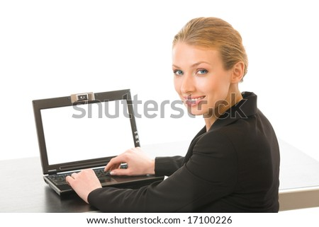 Young businesswoman working on laptop, isolated on white