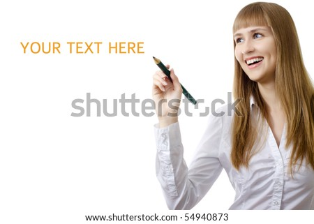young businesswoman writing any word on a copy space isolated