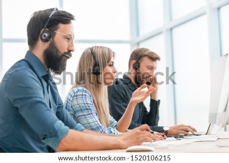 young call center operators in the workplace