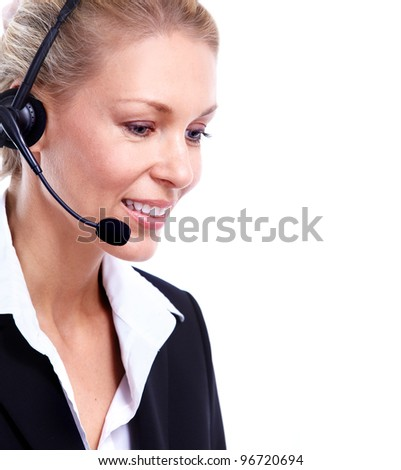 Young Call customer center operator woman with headset. Isolated on white background.