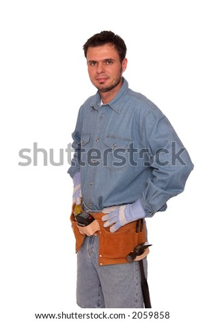 Young carpenter wearing safety gear - stock photo