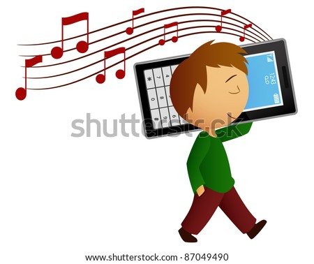 Young cartoon men walk and listen music with big cell phone. Vector available.