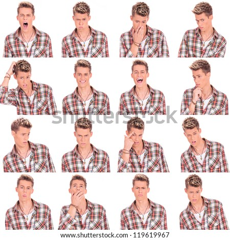 young casual man face expressions collage isolated on white background