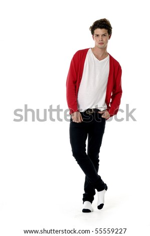 young casual man full body in a white - stock photo