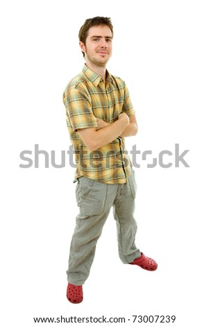 young casual man full body in a white background