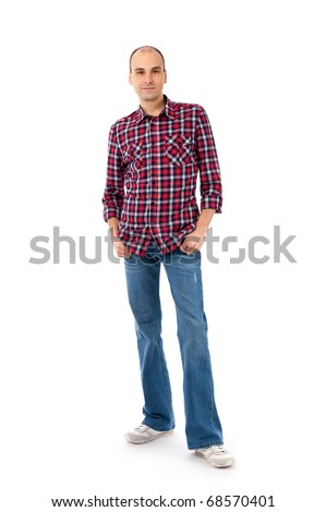 young casual man full body isolated on white background
