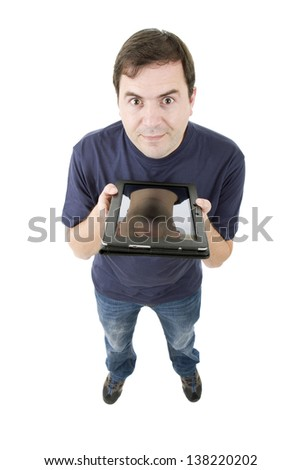 young casual man full body with a tablet, isolated