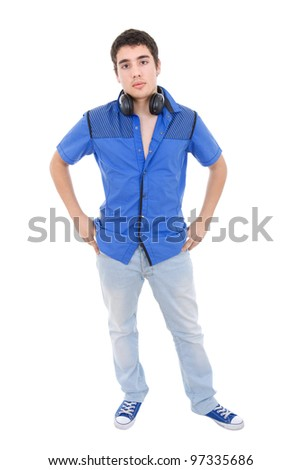 young casual man full length, isolated on white
