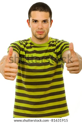 young casual man going thumbs up, on a white background
