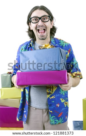 young casual man holding gifts, isolated