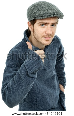 young casual man portrait going thumb up, in a white background