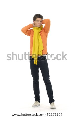 Young Casual man posing, isolated