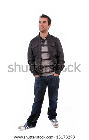 Young Casual man posing, isolated in white background