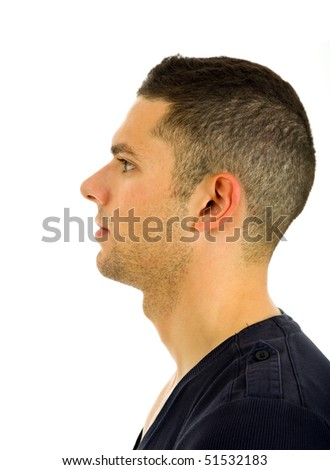 young casual man profile, isolated on white background