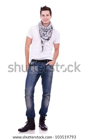 ... and scarf looking at the camera on white background - stock photo