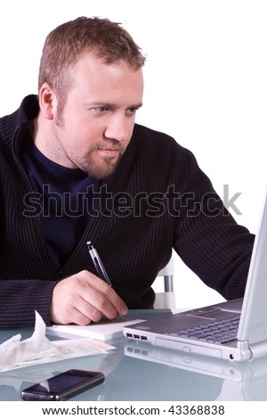 Young Casual Professional Taking Notes at Work - Isolated Background
