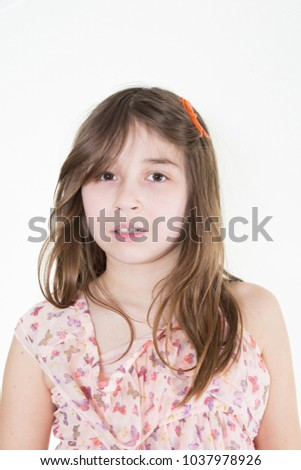 Young casual style girl portrait isolated over white background. #1037978926