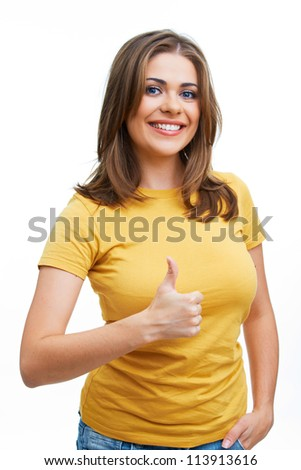 Young casual style woman portrait isolated over white background. Thumbs up show