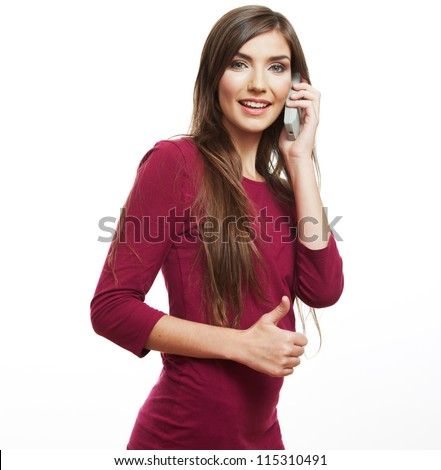 Young casual style woman portrait using phone, isolated over white background.