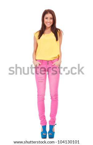 young casual woman choosing you by pointing to the camera on white background