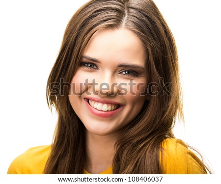 Young casual woman portrait isolated on white background. Yellow dressed. Happy girl close up face