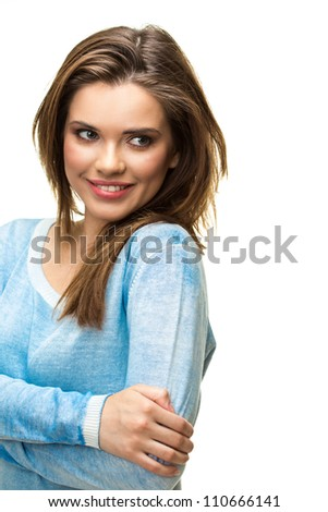 Young casual woman portrait, toothy smile, isolated on white background.