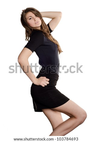 Young casual woman style isolated over white background. studio - stock photo