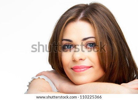 Young casual woman style isolated over white background. studio close up  portrait.