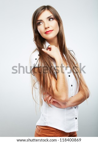 Young casual woman style isolated over white background. studio portrait female model. Beautiful smiling happy girl.
