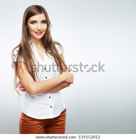 Young casual woman style isolated over white background. studio portrait female model. Beautiful smiling happy girl with long hair
