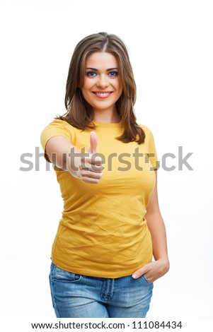 Young casual woman style isolated over white background. Thumbs up show