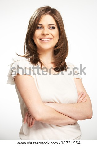 Young casual woman style portrait with toothy smile i