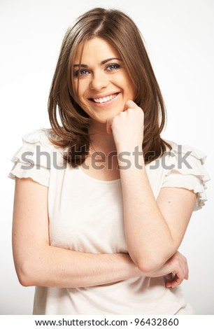 Young casual woman style portrait with toothy smile isolated over white background.