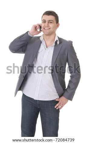 Young casual young man with phone