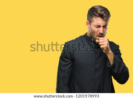 Young catholic christian priest man over isolated background feeling unwell and coughing as symptom for cold or bronchitis. Healthcare concept.