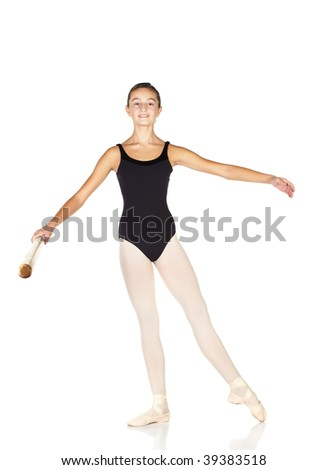 Young caucasian ballerina girl on white background and reflective white floor showing various ballet steps and positions. Rond de jambe. Not Isolated.