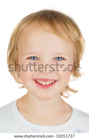 Young Caucasian blond girl funny smiling on the white.