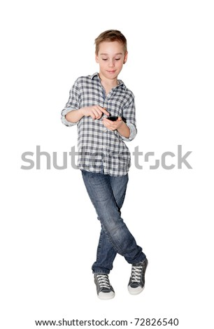 young Caucasian boy with touch phone on white background