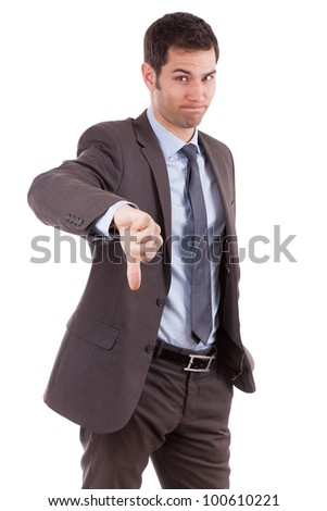 Young caucasian business man making thumbs down, isolated on white background