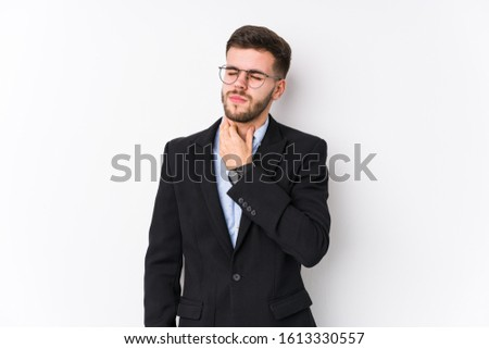 Young caucasian business man posing in a white background isolated Young caucasian business man suffers pain in throat due a virus or infection.