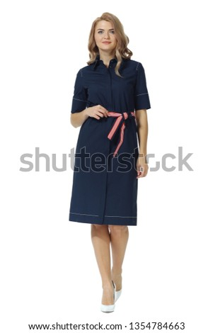 d52a68e72a0 young caucasian business woman executive posing in summer midi blue dress  high heels stiletto shoes full