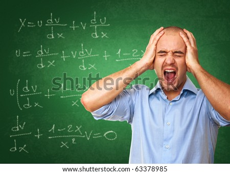 young caucasian desperate teacher and 3d classroom background