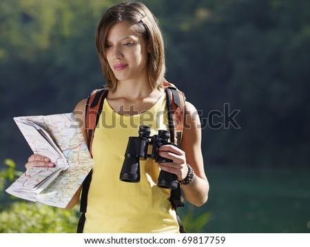 young caucasian female hiker...